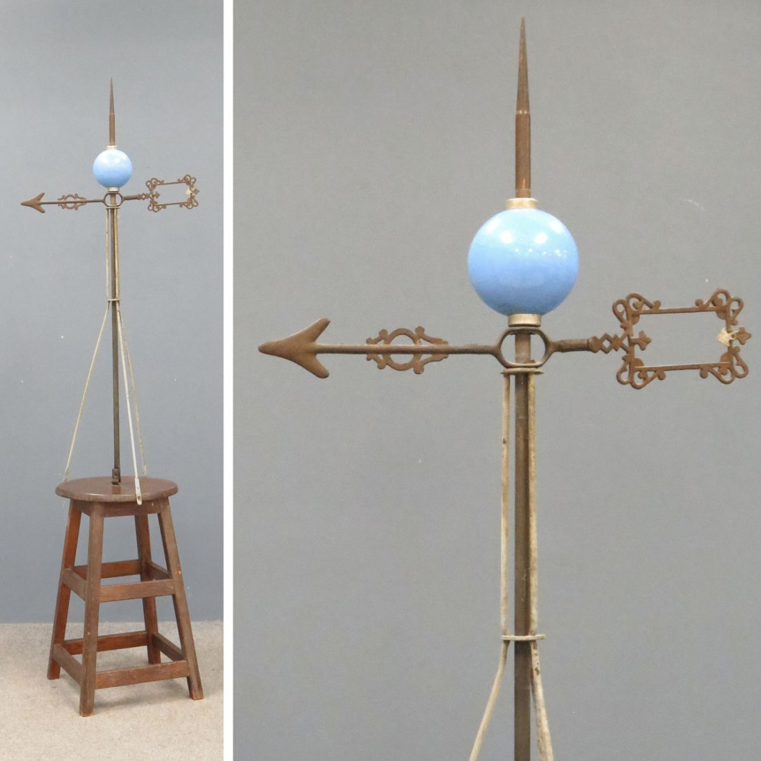 VINTAGE CAST IRON AND COPPER LIGHTING ROD
