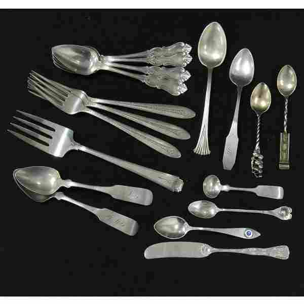 LOT ASSORTED STERLING/SILVER AND COIN FLATWARE