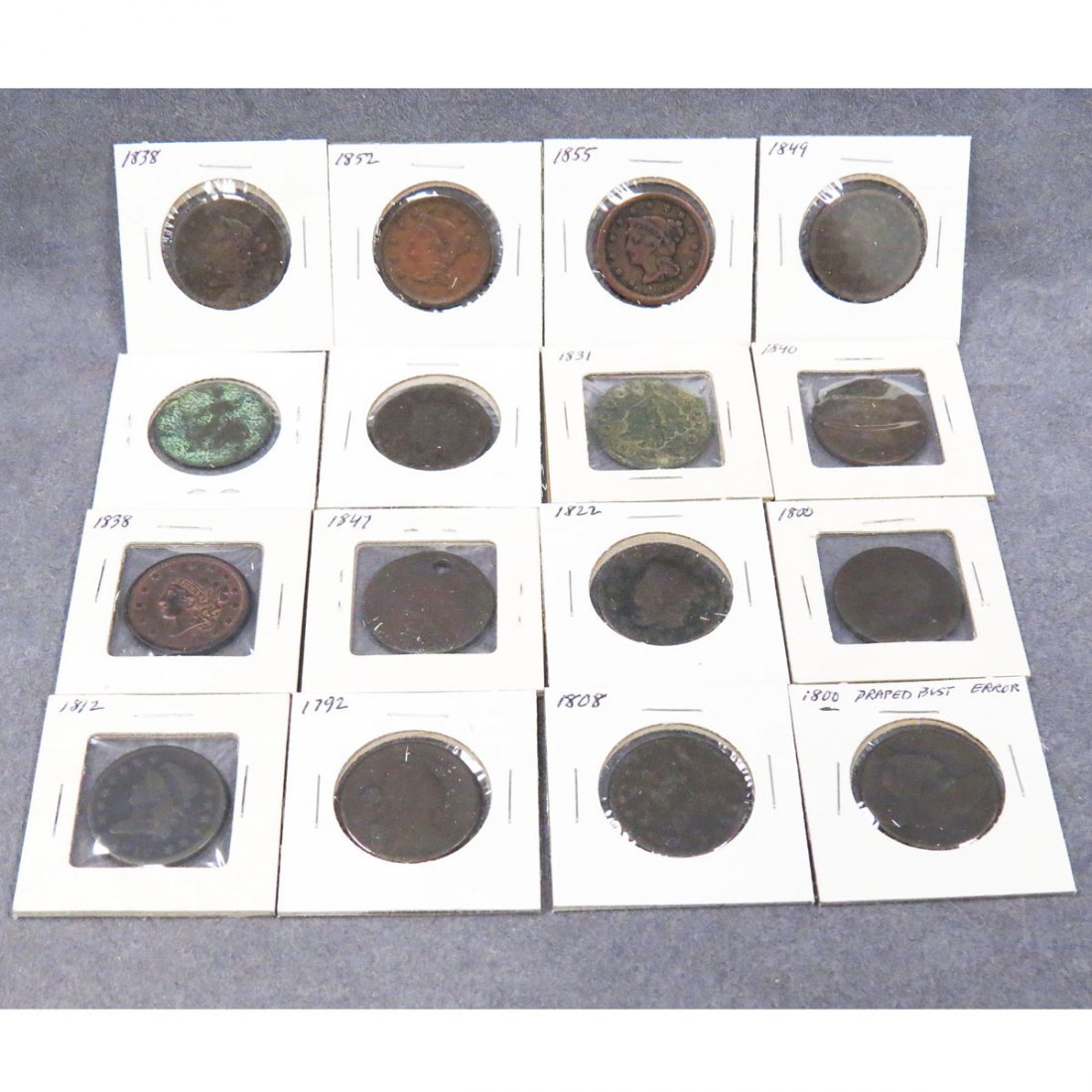 LOT (16) ASSORTED US LARGE CENTS, 1793-1855
