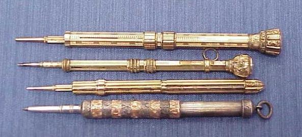 14: LOT (4) SILVER/GOLD FILLED MECHANICAL PEN