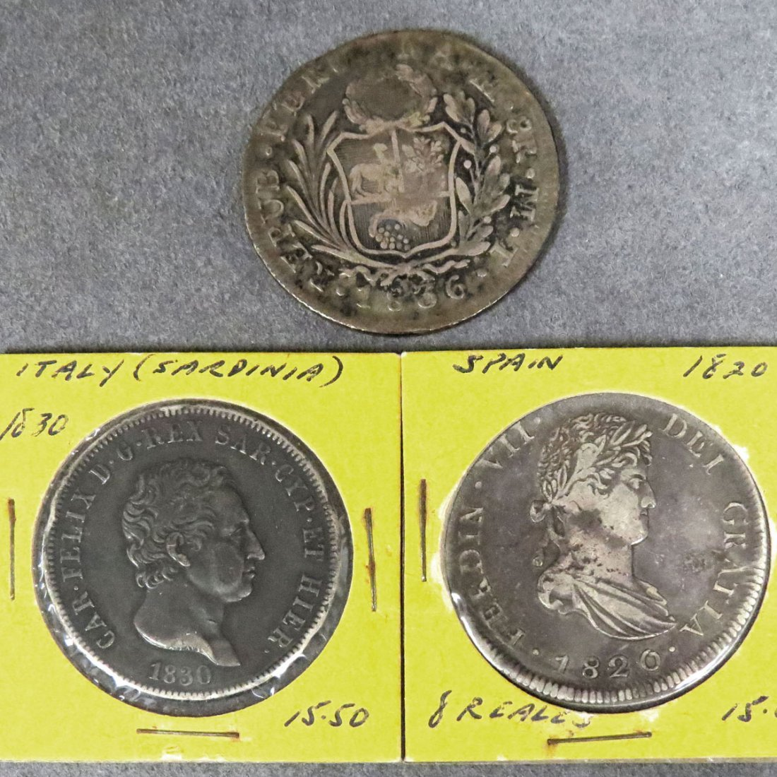 LOT (3) INCLUDING 1830P ITALIAN SILVER 5 LIRA COIN