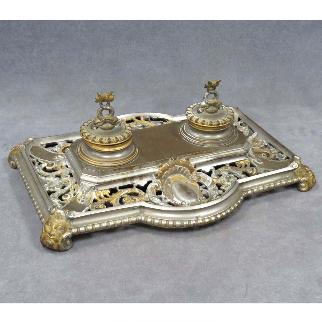 FRENCH EMPIRE STYLE SILVERED BRONZE INKWELL
