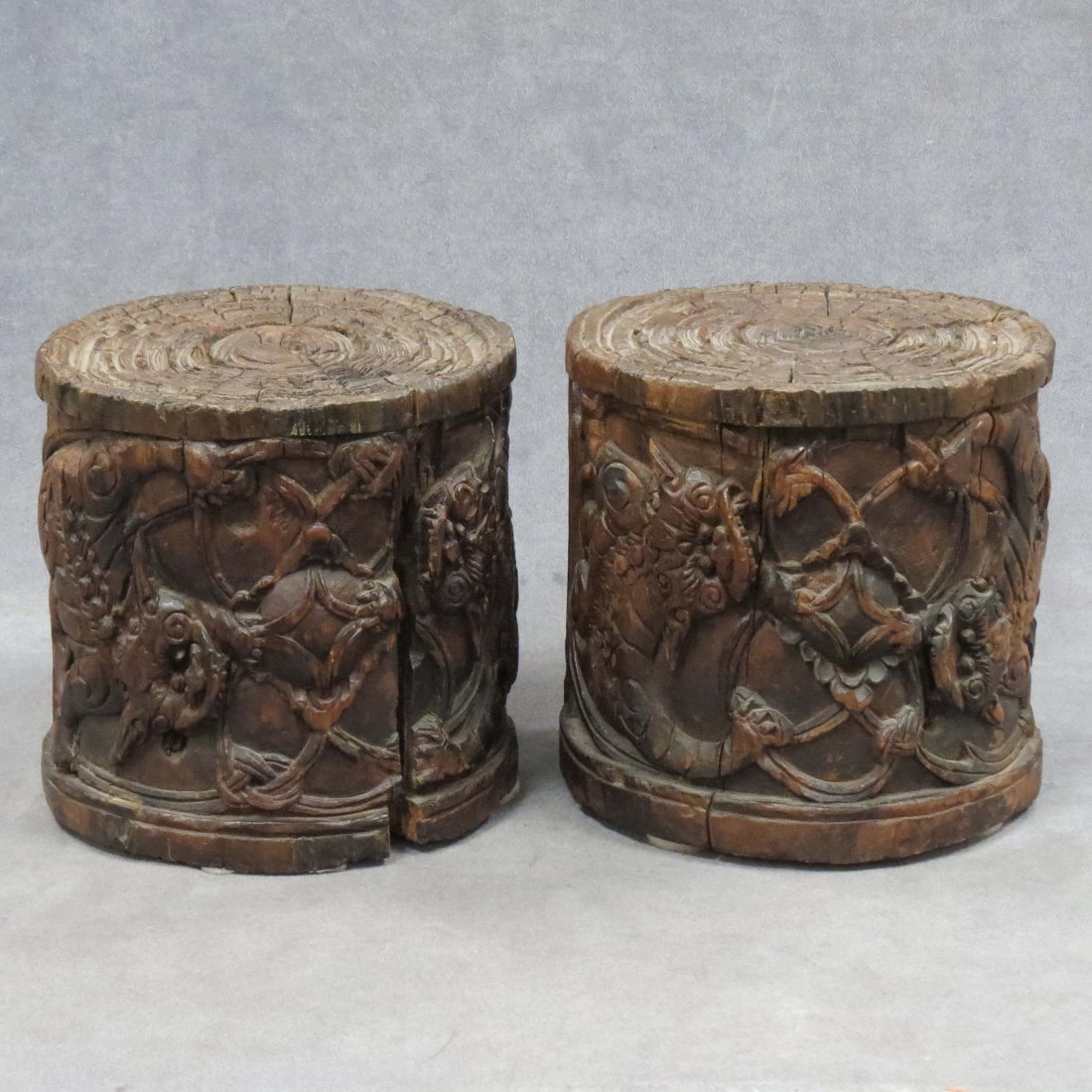 PAIR CHINESE CARVED WOOD PEDESTALS