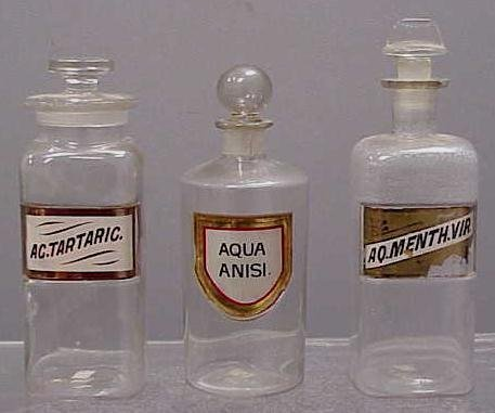 1002: (3) VINTAGE CLEAR GLASS APOTHECARY JARS