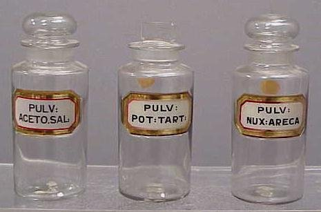 1004: 3 VINTAGE GLASS APOTHECARY JARS
