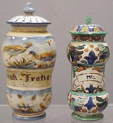1006: 2 DECORATED FAIENCE APOTHECARY JARS