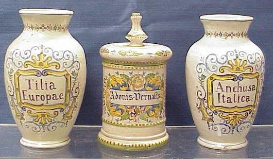 1040: 3 DECORATED FAIENCE APOTHECARY JARS