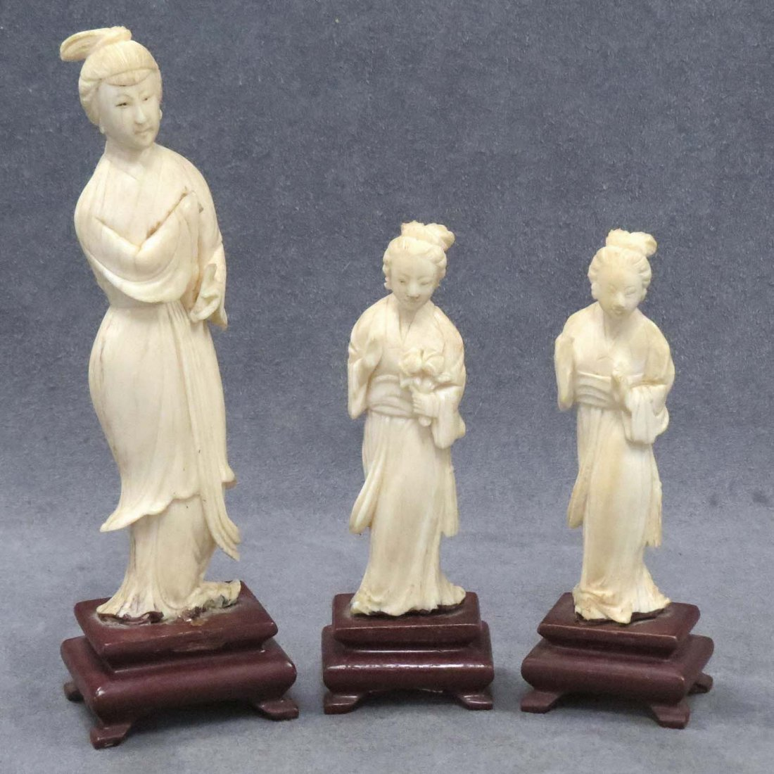 LOT (3) CHINESE CARVED IVORY FIGURES