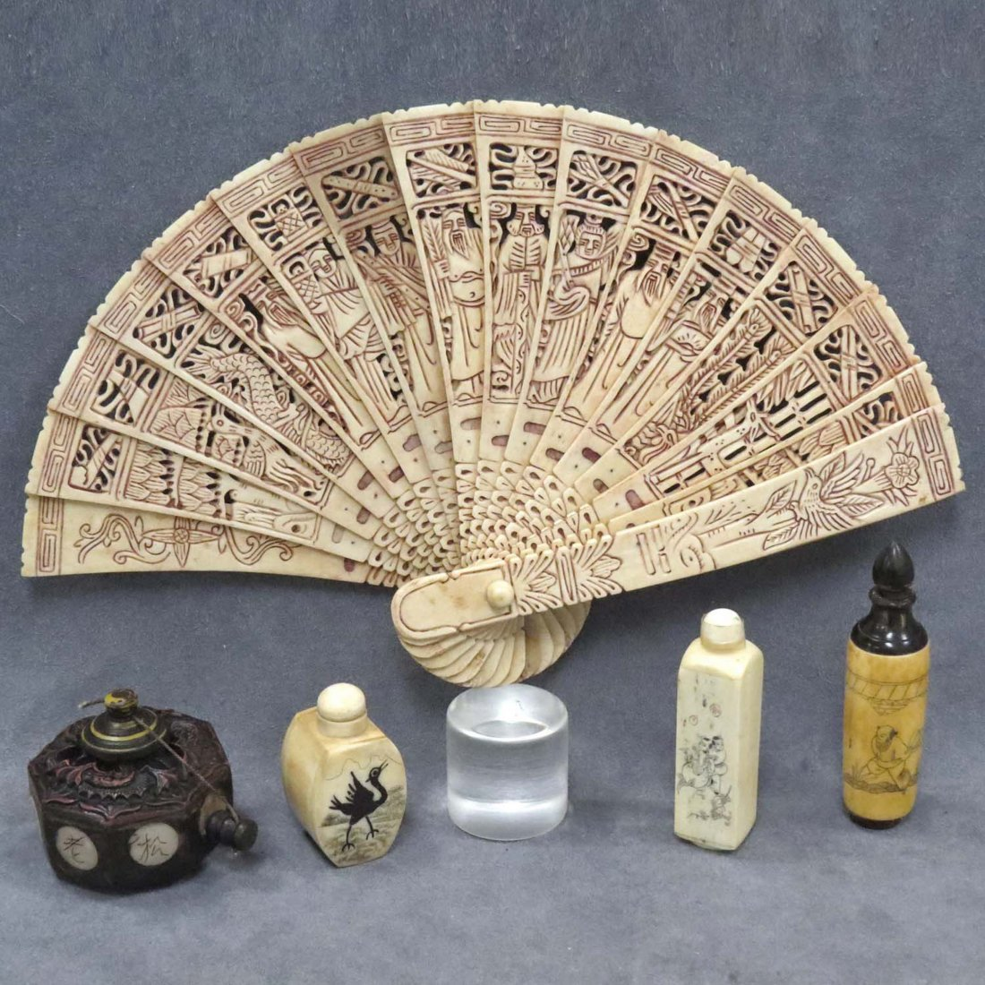 LOT (5) ASSORTED CHINESE CARVED BONE INCLUDING FAN