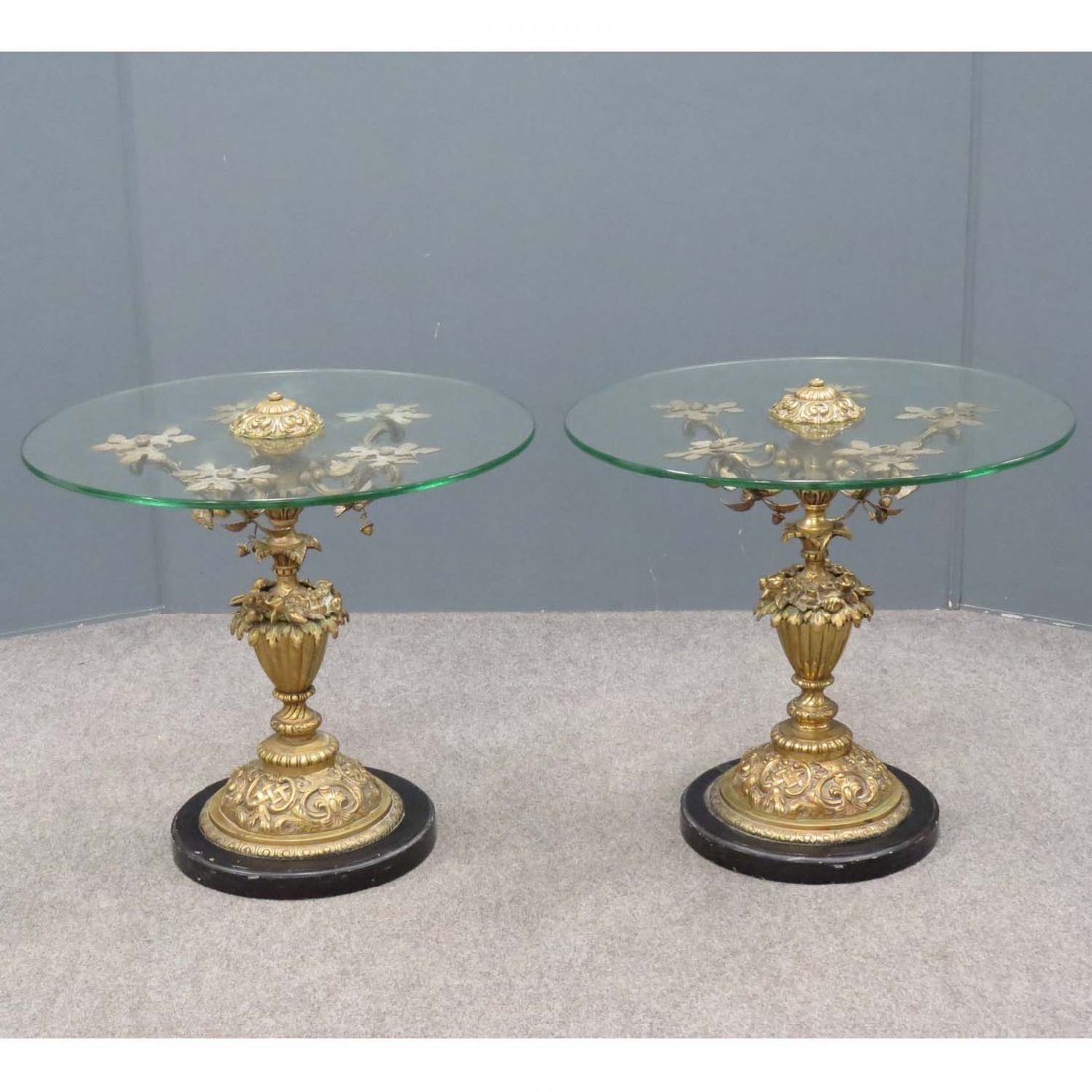 PAIR FRENCH STYLE BRASS AND MARBLE BASED STANDS