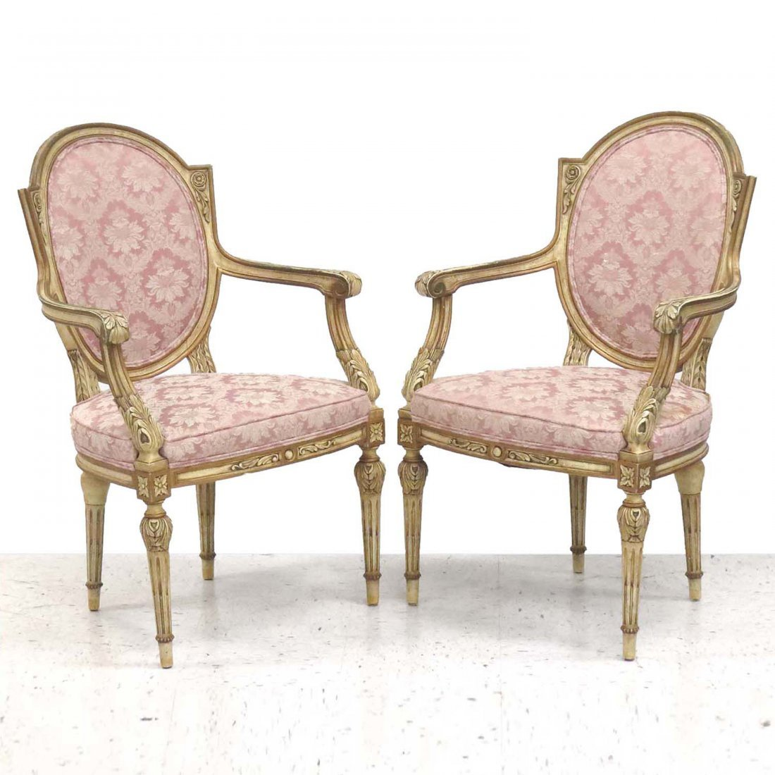 PAIR FRENCH, PAINTED AND PARCLE GILT FAUTEUILS