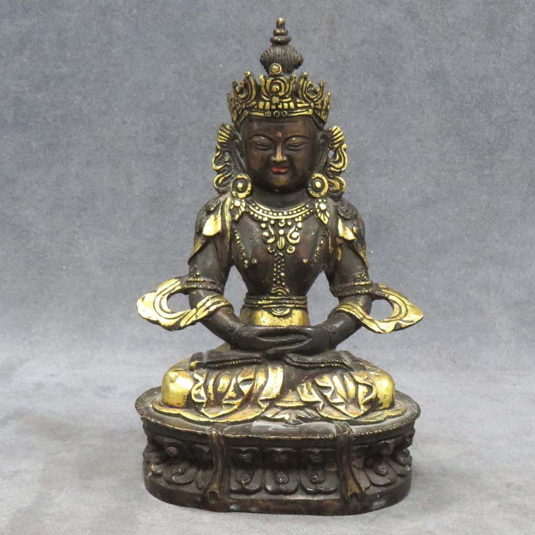 SINO-TIBETAN PARCLE-GILT BRONZE BUDDHA