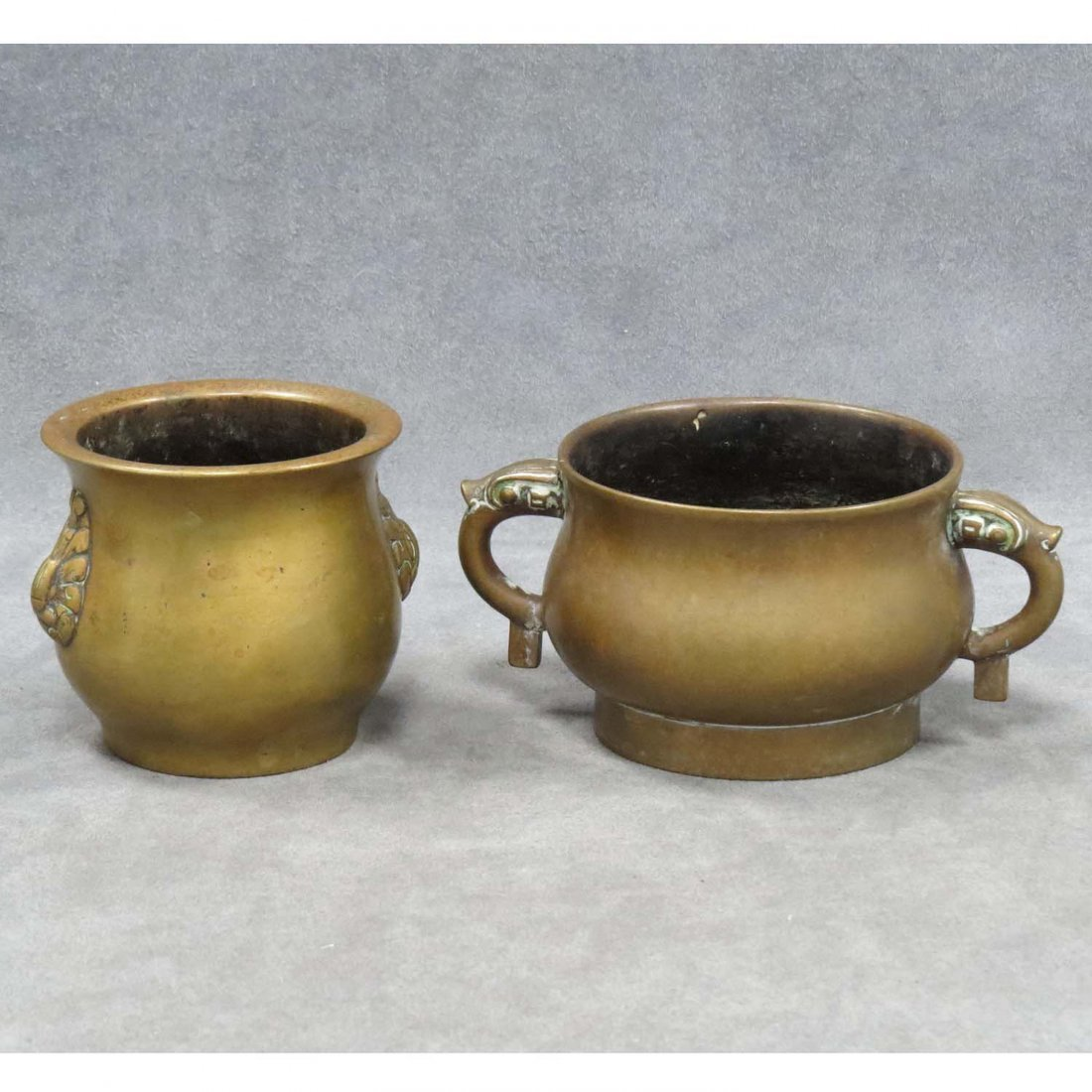 LOT (2) CHINESE BRONZE CENSORS, 1/WITH HANDLES