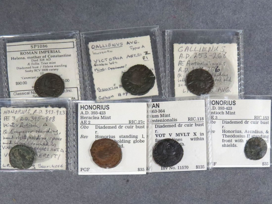 LOT (7) IMPERIAL ROMAN BRONZE COINS
