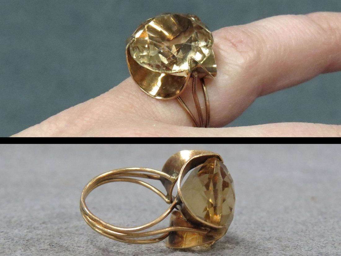 14K YELLOW GOLD AND 11.97CT HELIODOR (BERYL) RING