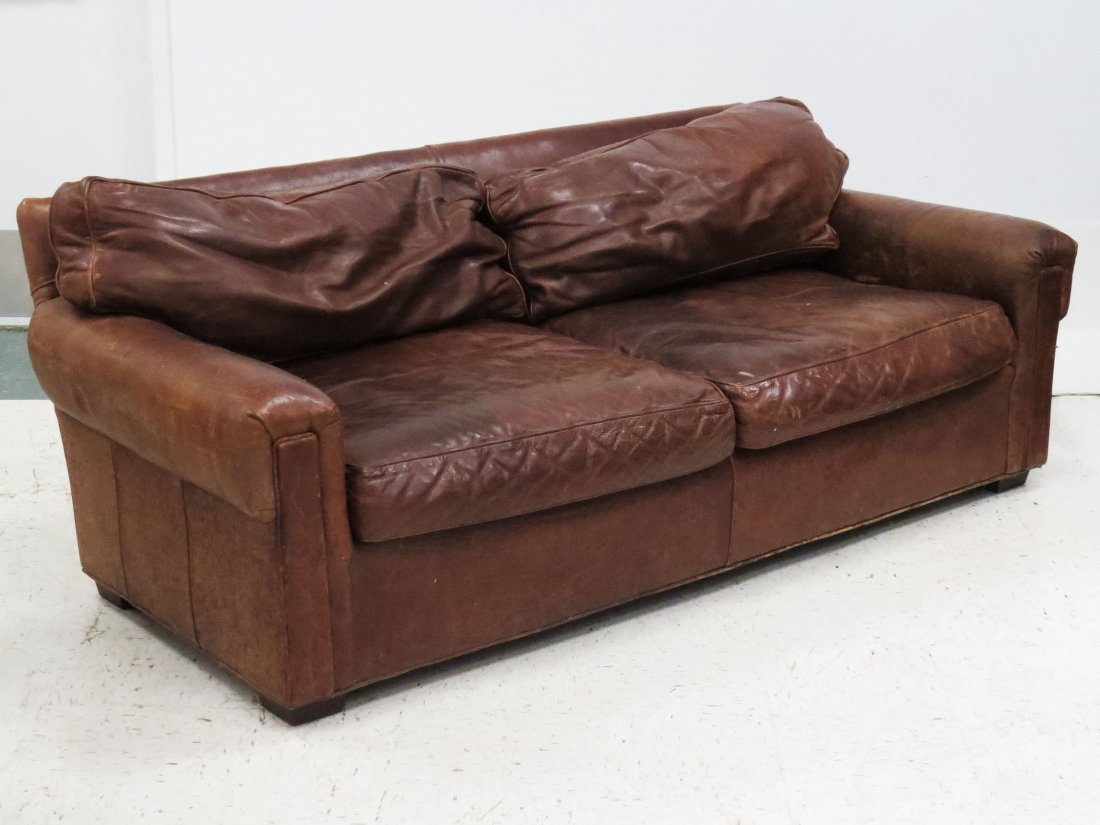 BROWN LEATHER CLUB SOFA