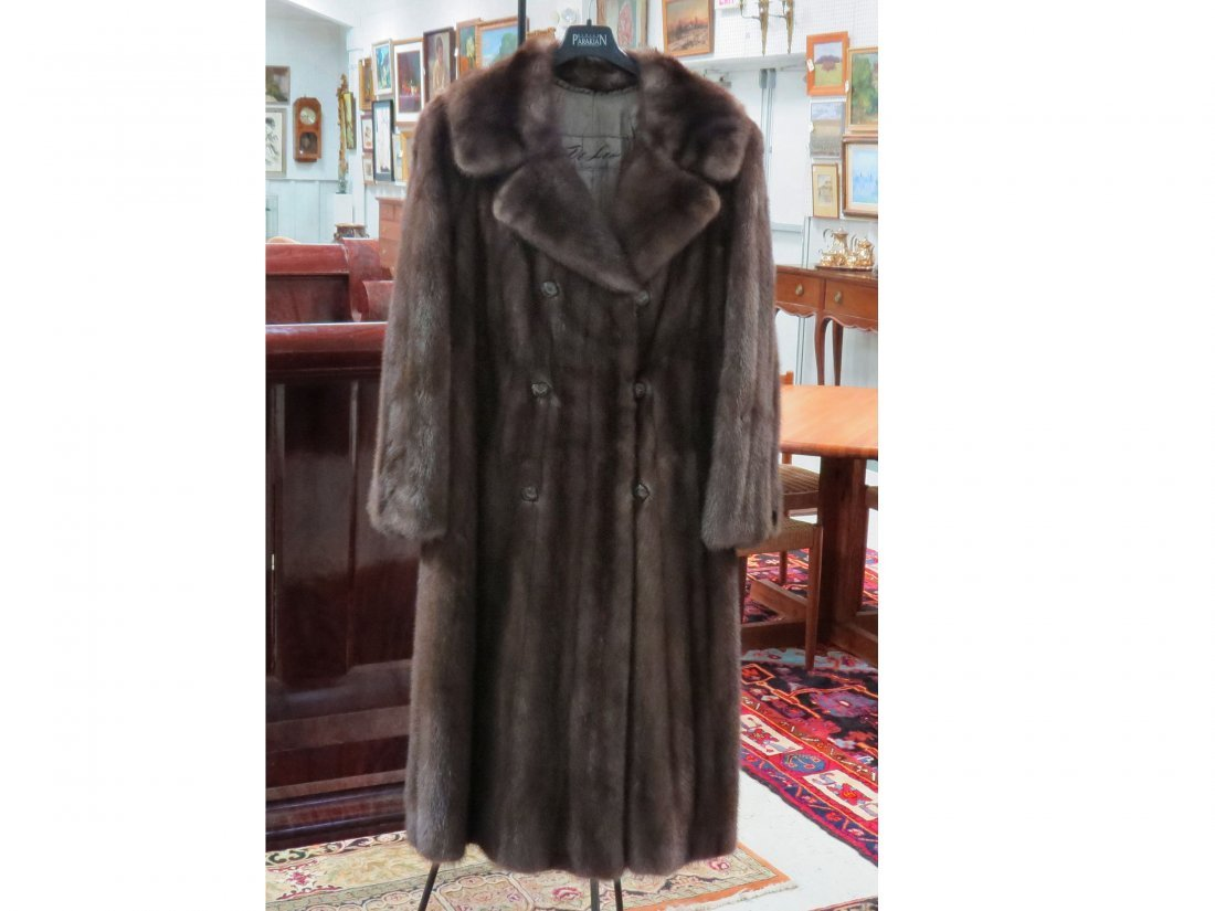 BROWN MINK DOUBLE BREAST FULL-LENGTH COAT