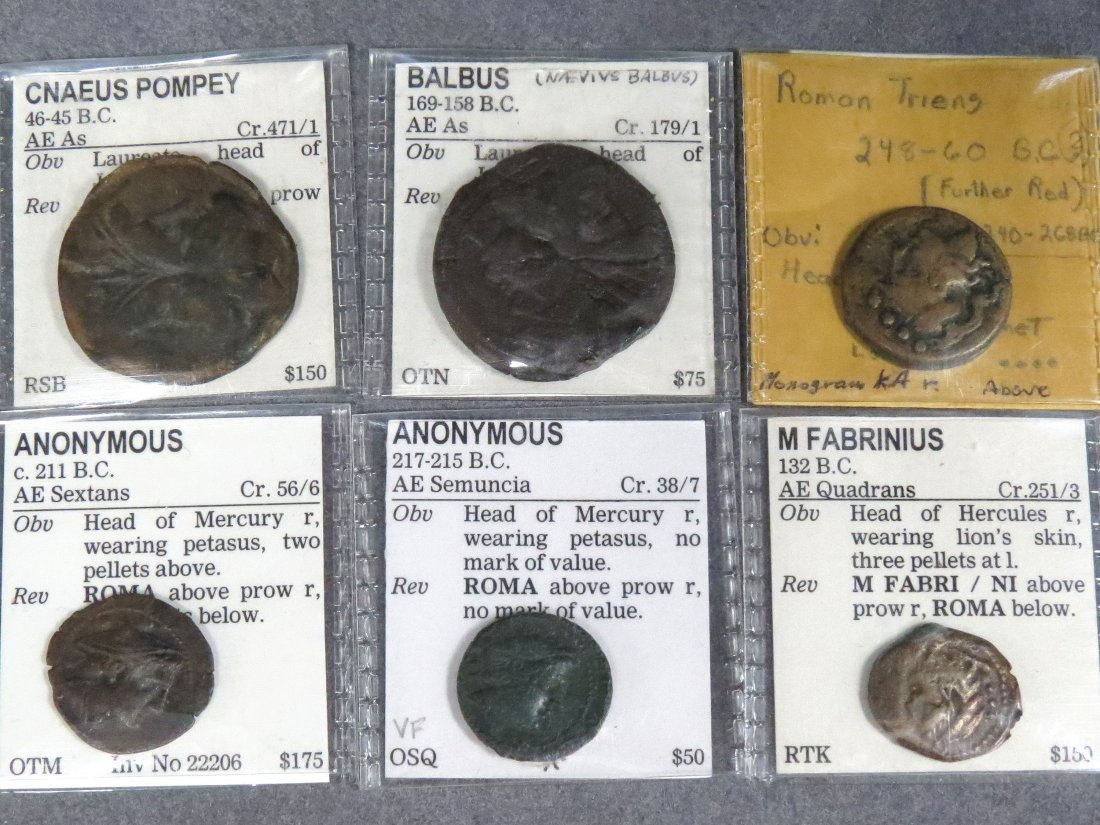 LOT (6) ASSORTED ROMAN REPUBLIC BRONZE COINS