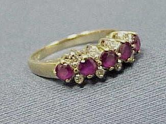 4: 14K YELLOW GOLD DIAMOND & 5-STONE RUBY RING