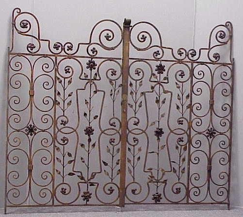 8: PAIR ART DECO WROUGHT IRON/PAINTED GATES, C.1920