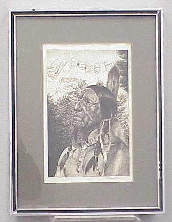 13: PEN/INK AMERICAN INDIAN CHIEF, SIGNED A. SAILER