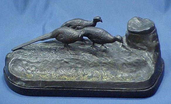 21: BRASS FIGURAL INKWELL WITH PHEASANTS ON WOOD BASE