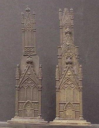 22: PAIR ENGLISH GOTHIC REVIVAL METAL NOTE STANDS, 19TH