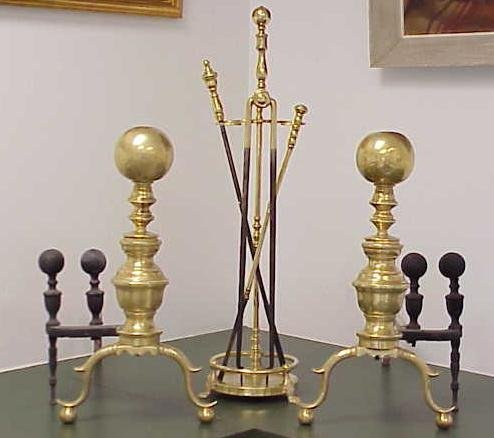 23: FEDERAL STYLE BRASS CANNON BALL ANDIRONS, 20TH CENT