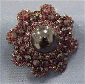 80 VICTORIAN ROSE GOLD GILT METAL GARNET PIN
