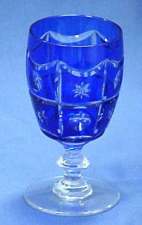 146: SET (12) BOHEMIAN COBALT-CUT-TO-CLEAR WATER GLASSE