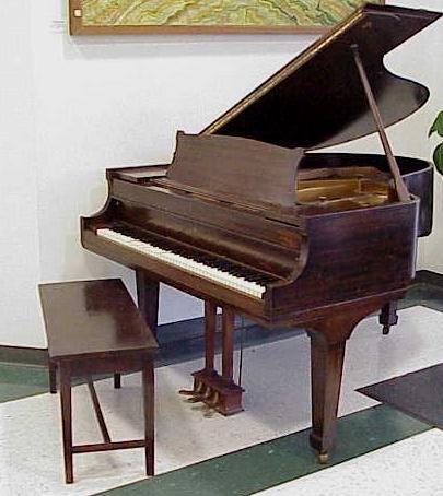 """333: SCHUBERT MAHOGANY 64"""" BABY GRAND PIANO WITH BENCH"""