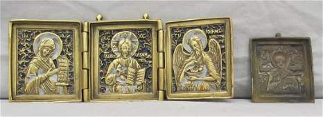 LOT (2) RUSSIAN BRASS TRAVELING ICONS