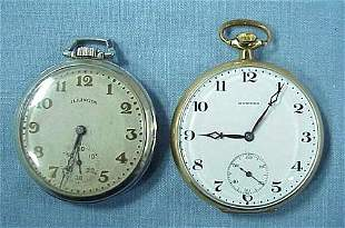 LOT (2) OPEN-FACE POCKET WATCHES