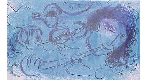 """17: LITHOGRAPH """"FLUTE PLAYER"""" MARC CHAGALL"""