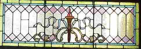 223: VICTORIAN STAINED/LEADED GLASS PANEL