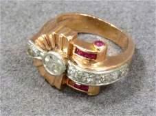 RETRO 14K PINK GOLDPLATINUM DIAMOND AND RUBY RING