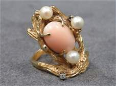 YELLOW GOLD TESTS 14K ANGEL SKIN CORAL RING