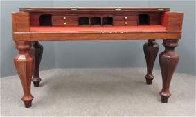 EMPIRE ROSEWOOD CARVED AND INLAID PIANO CASE DESK