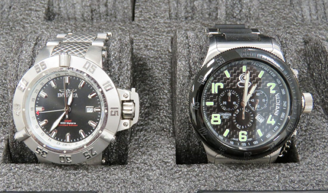 LOT (3) INCLUDING INVICTA WATCHES, CASE