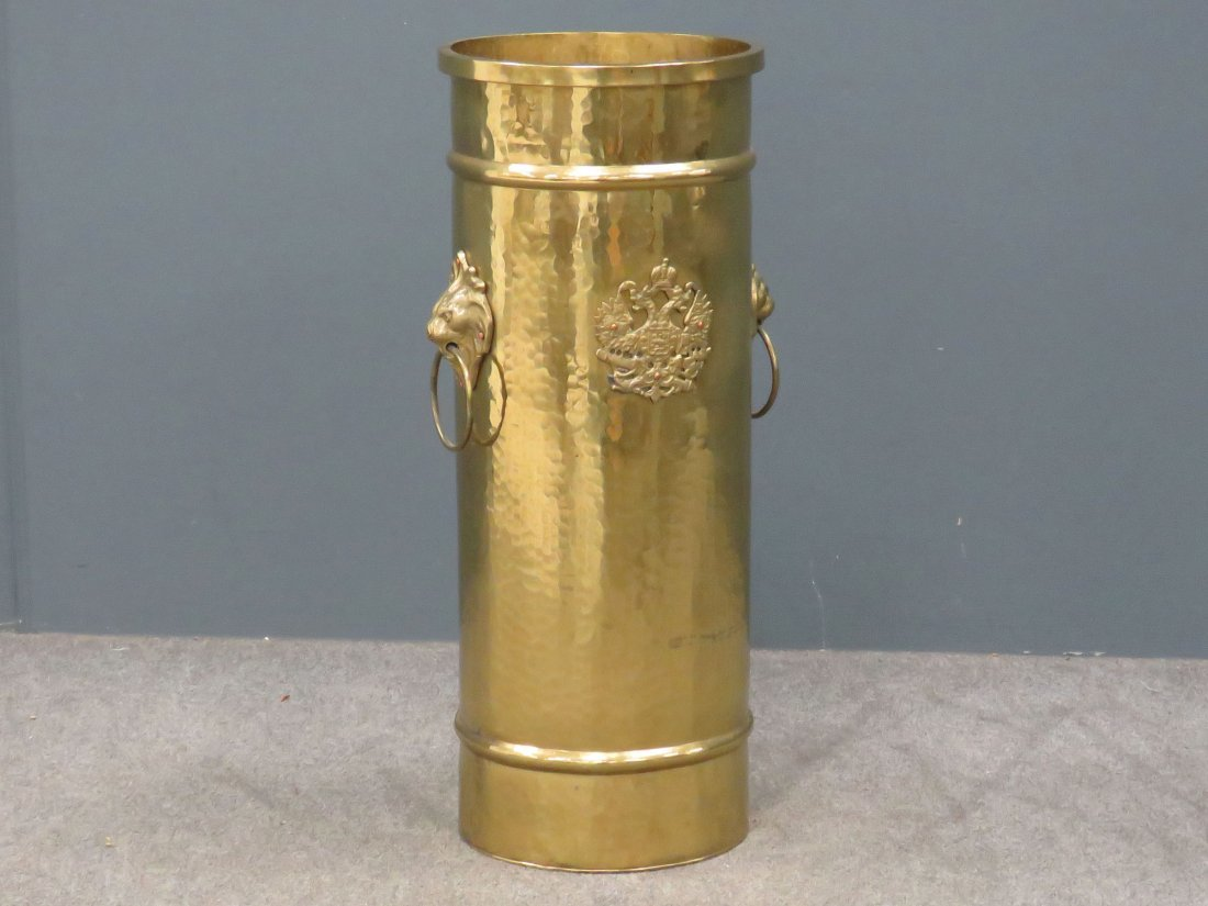 IMPERIAL RUSSIAN BRASS UMBRELLA STAND, SIGNED