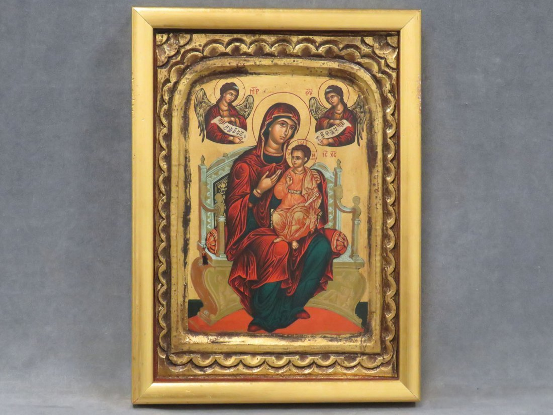 GREEK ICON, MOTHER OF GOD AND GUARDIAN ANGELS
