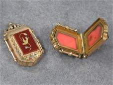 LOT 2 VICTORIAN GOLD FILLED WATCH FOBLOCKETS
