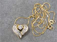 14K YELLOW GOLD DIAMOND HEART NECKLACE
