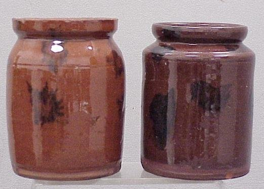 1002: LOT (2) REDWARE COUNTRY PRESERVE JARS, 19THC