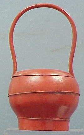 JAPANESE PAINTED WOOD HANDLED BASKET/CONTAINER