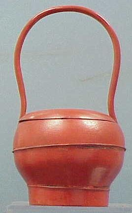 1006: JAPANESE PAINTED WOOD HANDLED BASKET/CONTAINER
