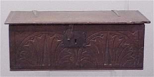 CARVED OAK BIBLE BOX, 17/18TH CENTURY