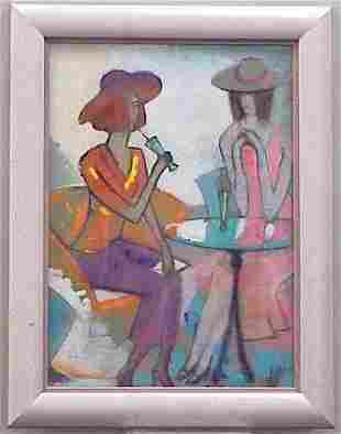 REVERSE OIL ON GLASS, AT THE BISTRO TABLE, 20THC