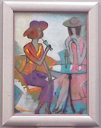 1012: REVERSE OIL ON GLASS, AT THE BISTRO TABLE, 20THC