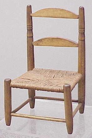 1017: SALESMAN MODEL/DOLL'S RUSH-SEAT SIDE CHAIR